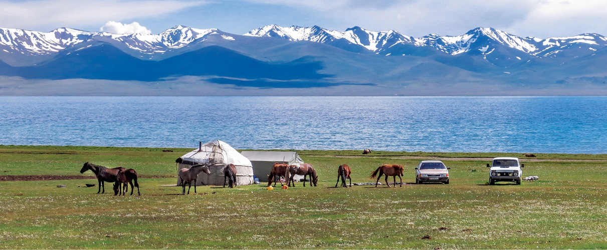 Nad jeziorem Son-Kul jest sporo jurt, w których łatwo znaleźć nocleg i konie na przejażdżkę